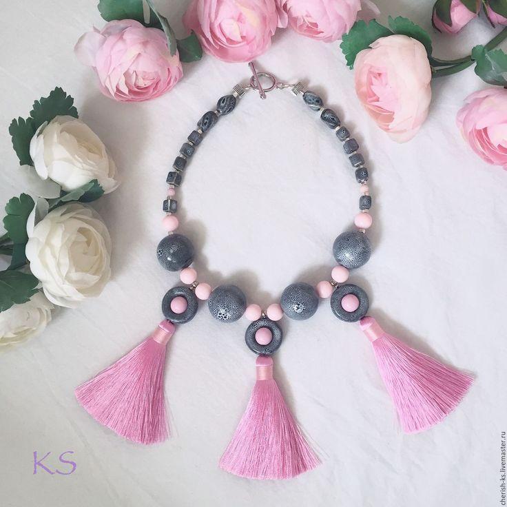 Купить Колье из керамики с кисточками - розовый, серый, серо-розовый, розово-серый, керамические украшения