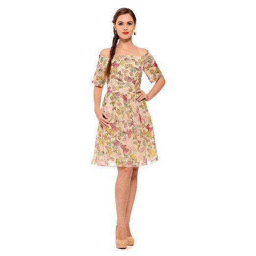 Khazanakart Creation Floral Printed western wear Cream Skirt Dress Material