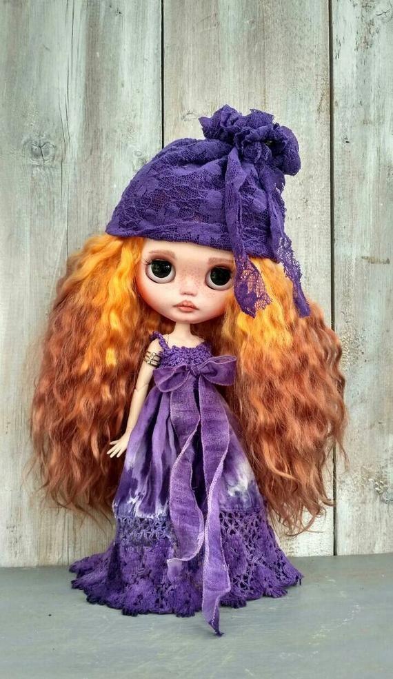 Mila custom Blythe doll OOAK doll collectible doll mohair weft custom Blythe Blythe doll Blythe custom ooak