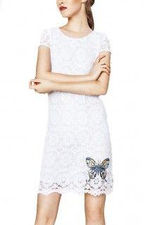 Desigual bílé krajkové šaty Cadaqués - 2249 Kč
