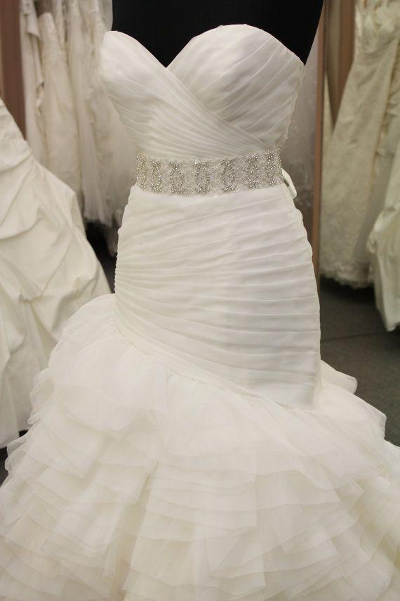 Rhinestone crystal bridal belt jeweled by CoutureBrideBoutique, $105.00