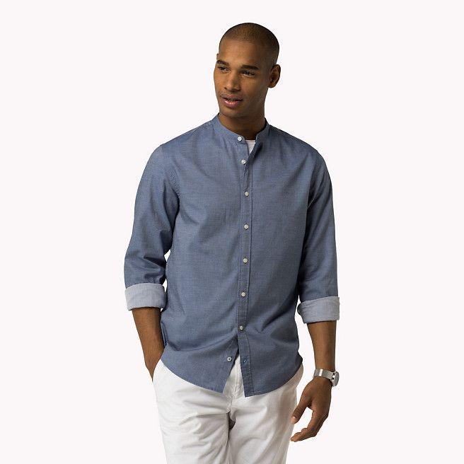 Camicia aderente in cotone a ratiera di Tommy Hilfiger - dutch navy (Blue) - camicie casual di Tommy Hilfiger - immagine dettaglio 99,90 euro
