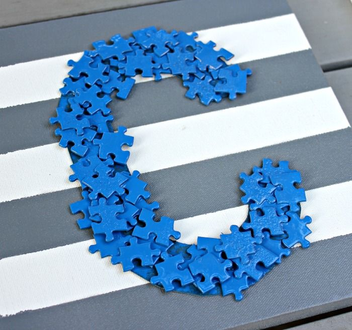 Puzzle Piece Monogram Art .  Kid Friendly and Fun!  |  View From The Fridge