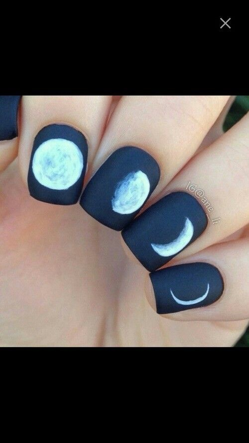 Simple matte moon phases nail art #manicure #shortnails