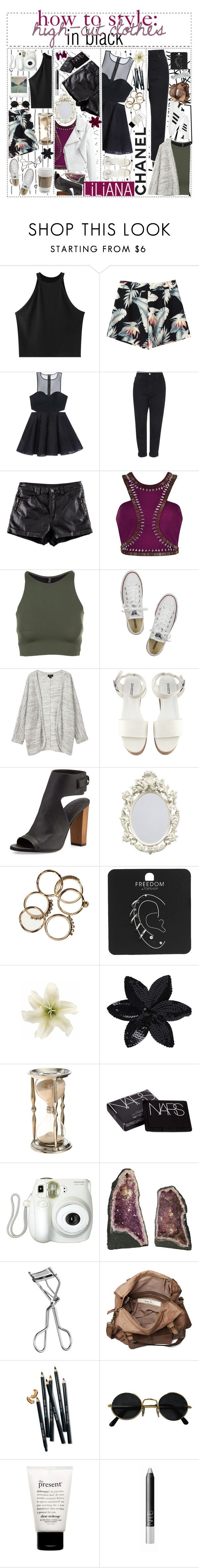 """""""how to style: high-cut clothes in black"""" by sorority-of-polyvore ❤ liked on Polyvore featuring Color Me, Chicnova Fashion, Bebe, Topshop, H&M, Onzie, Converse, Monki, adidas and Vince"""