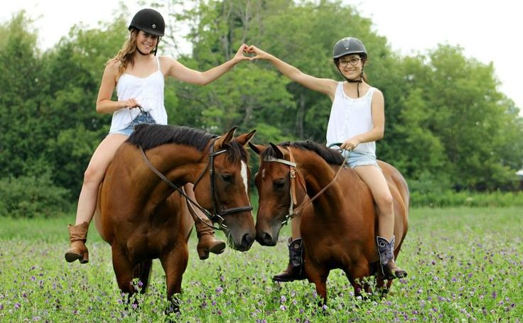 friends riding horses