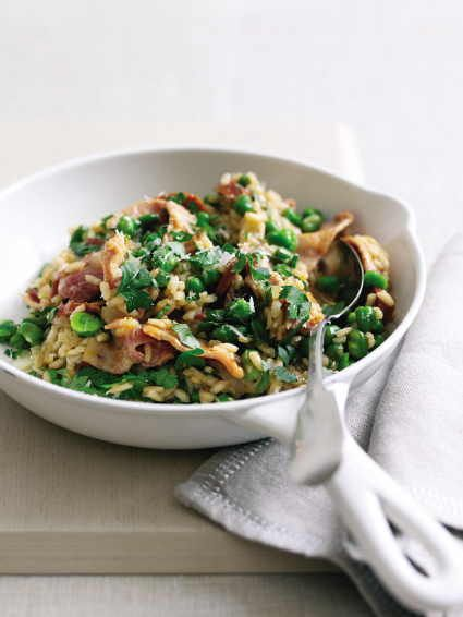 Chorizo Risotto with Sweet Cured Bacon and Broad Beans