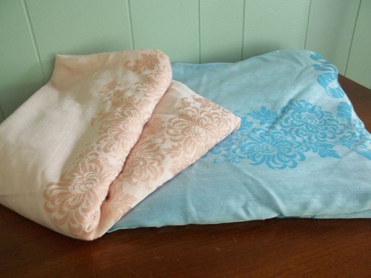 """Extra large tablecloths, set of 2, oval or oblong, 72"""" wide X 106"""" long, blue & white and vintage pink.  Soft demask fabric yardage, cottage by GraceYourNest on Etsy"""