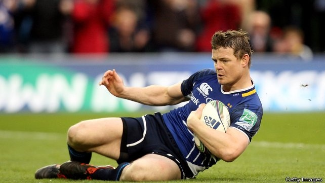 Brian O'Driscoll scoring int the Heineken Cup quarter final against Cardiff via RTE.  http://www.rte.ie/sport/rugby/2012/0407/316444-leinster-v-cardiff-blues/