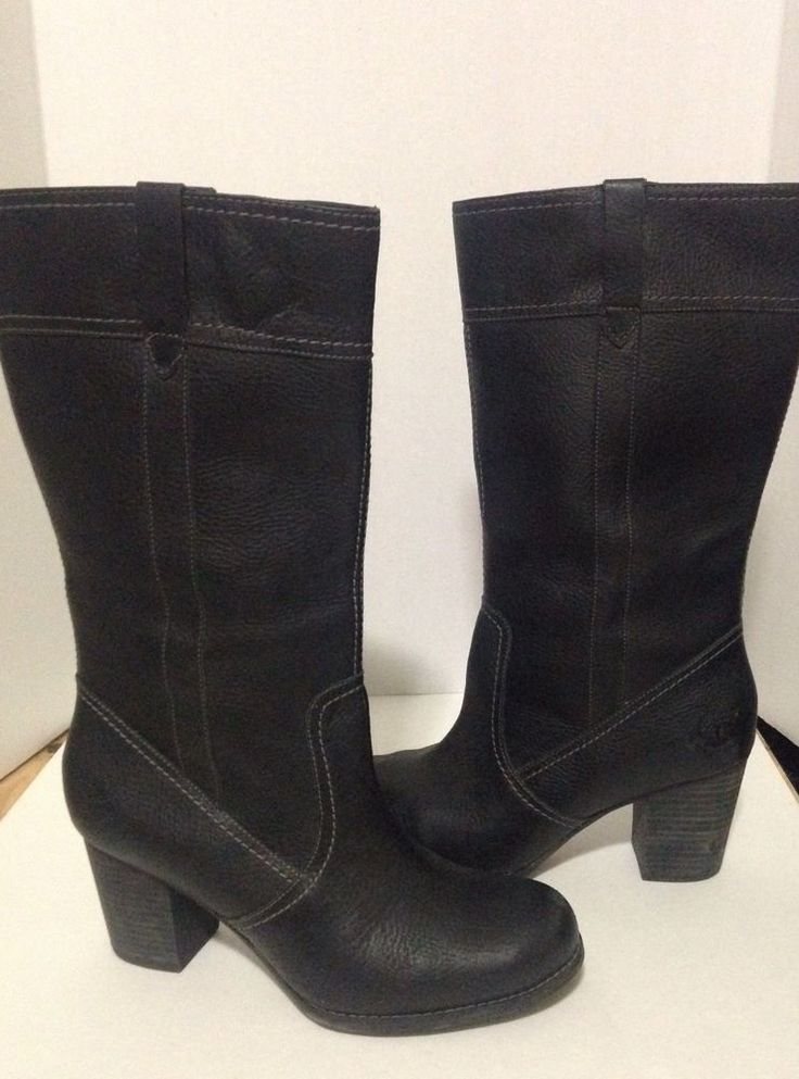 $59.99 Timberland Women's Black Leather Boots Size 10 #Timberland #MidCalfBoots #Casual