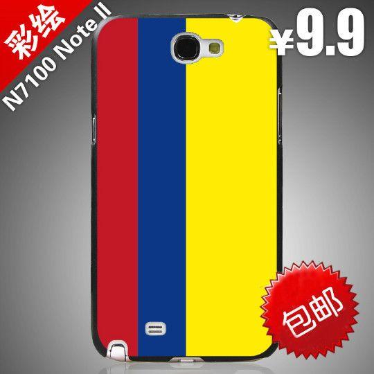 Твердый переплет живопись для Samsung примечание 2 II N7100 Note2 / сотовый телефон чехол чехол флаг колумбии / бесплатная доставка