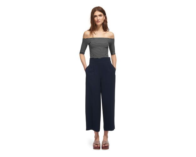Short Sleeve Stripe Bardot Top, in Black/Multi on Whistles