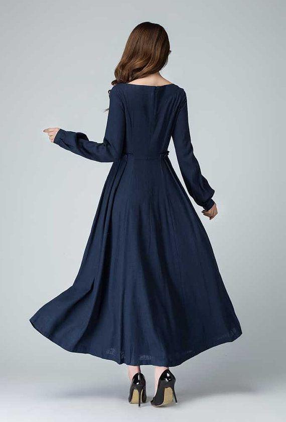 dark blue dress linen dress fall dress prom dress by xiaolizi                                                                                                                                                                                 More
