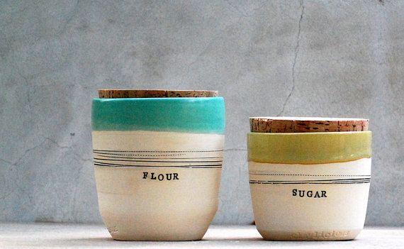 stoneware kitchen canisters sugar jar flour jar by claylicious
