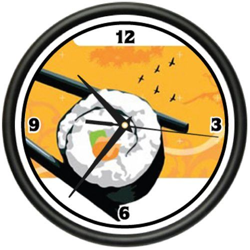 Special Offers - SUSHI BAR Wall Clock roll japanese asian kitchen chef - In stock & Free Shipping. You can save more money! Check It (April 16 2016 at 12:43PM) >> http://wallclockusa.net/sushi-bar-wall-clock-roll-japanese-asian-kitchen-chef/