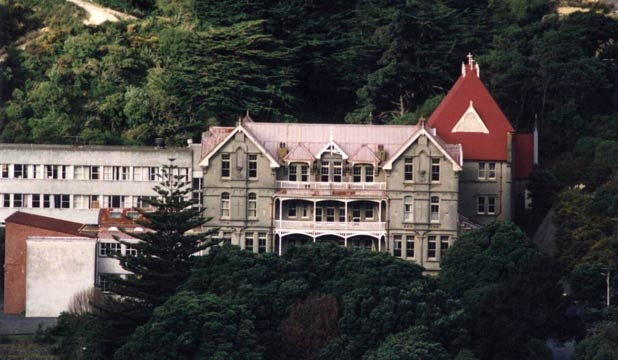 Another view of Erskine College (not a college anymore) in Island Bay, Wellington, New Zealand. This is the view I have of it out my living room window.