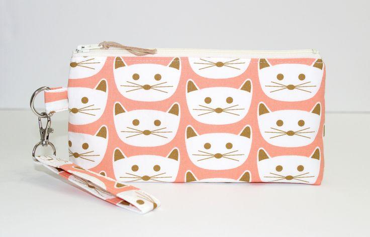 Cats Pencil Pouch, Cute Pencil Case, School Supplies, Makeup Bag, Cat Zipper Pouch, Cat Gifts by LittleFoxSewsLots on Etsy