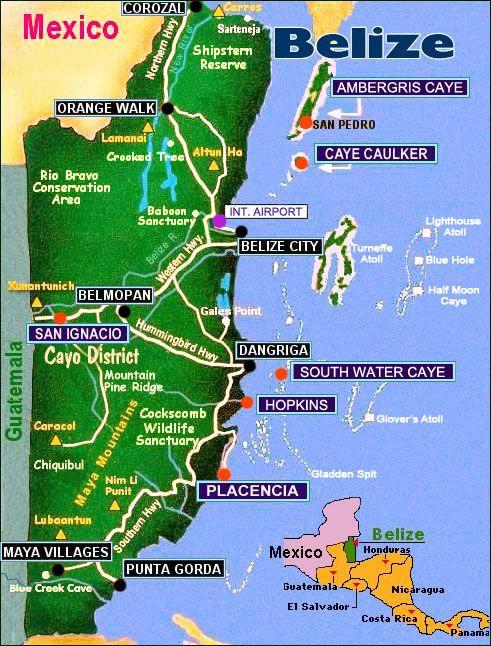 Die Besten Map Of Belize Ideen Auf Pinterest Belize - Belize tourist map