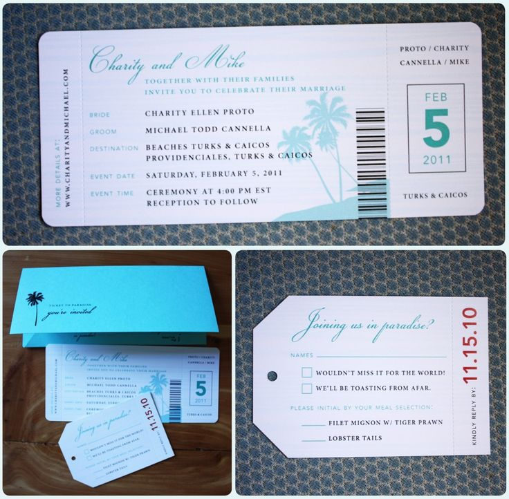airline ticket & luggage tag invitations. PERFECT for a destination wedding or a couple who loves to travel!