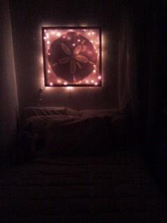 lights behind a canvas