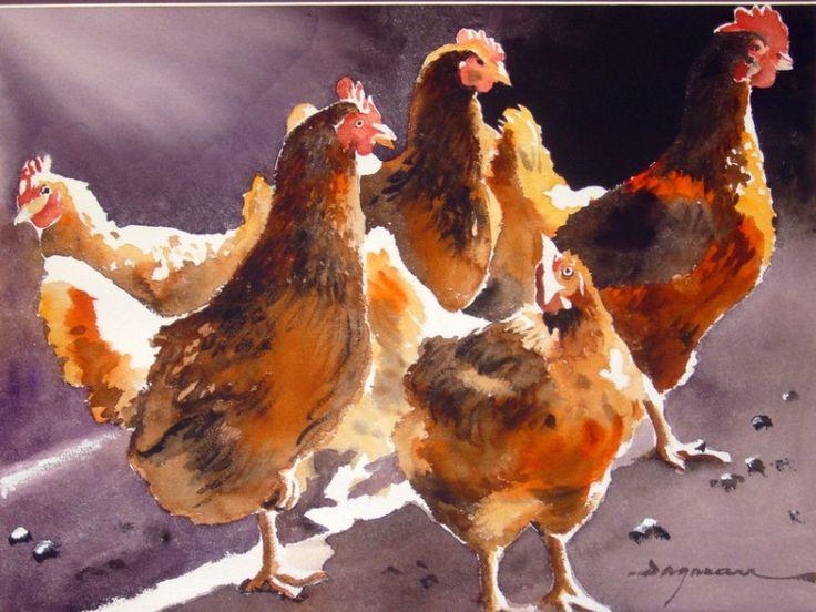 basse-cour-2.jpg - Painting,  60x80 cm ©2014 par jean guy DAGNEAU -                                                            Art figuratif, Papier, La vie rurale, ombres et lumières