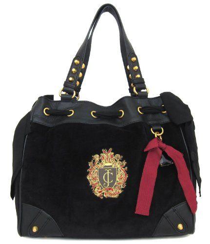 Juicy Couture Daydreamer Regalia Velour Tote Bag, Black