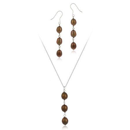 Sterling Silver Baroque Freshwater Cultured Brown Pearl Drop Earrings & Pendant Set SilverSpeck.com. $14.99