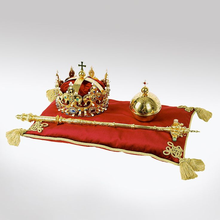 Replicas of the coronation regalia of Polish monarchs - Crown of Boleslaus I the Brave by Anonymous from Kraków, ca. 1320, sceptre and royal orb of Catherine Jagiellon by circle of Cornelis ver Weiden, 1569, Ľubovnianske múzeum