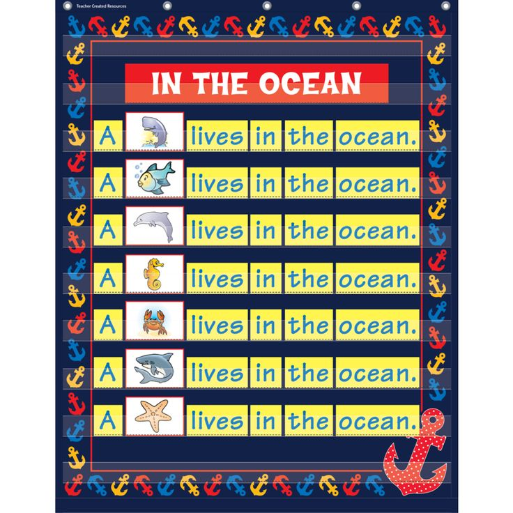 "Anchors 10 Pocket Chart - These lightweight and durable pocket charts feature colorful designs and hang easily from sturdy, metal grommets. Measures 34"" x 44""."