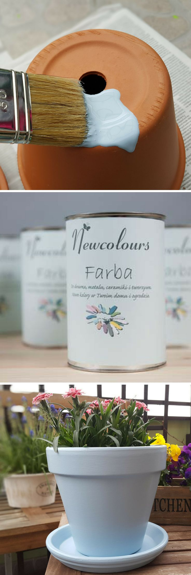 We love flowerpots. Now it is so easy to change their colours everytime we want. With Newcolurs paints.