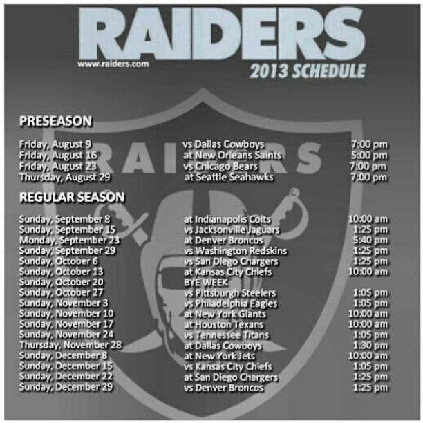 Raiders schedule 2013