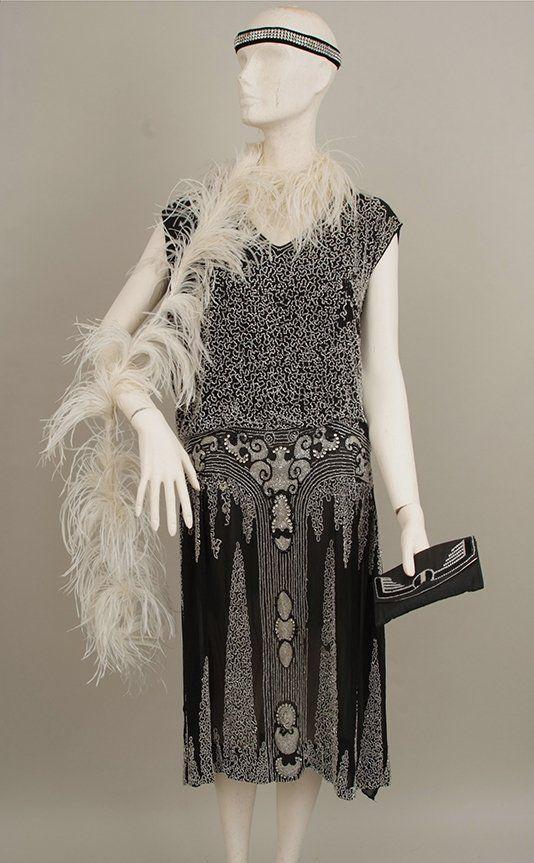 Designer black chiffon feather tunic dress