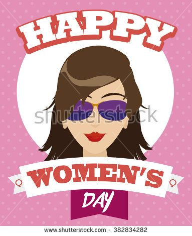 Beauty lady portrait with sunglasses and red lips  with ribbons around her commemorating Women's Day