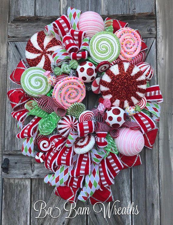 Candy Land Christmas Christmas Wreath Christmas Decor Candy