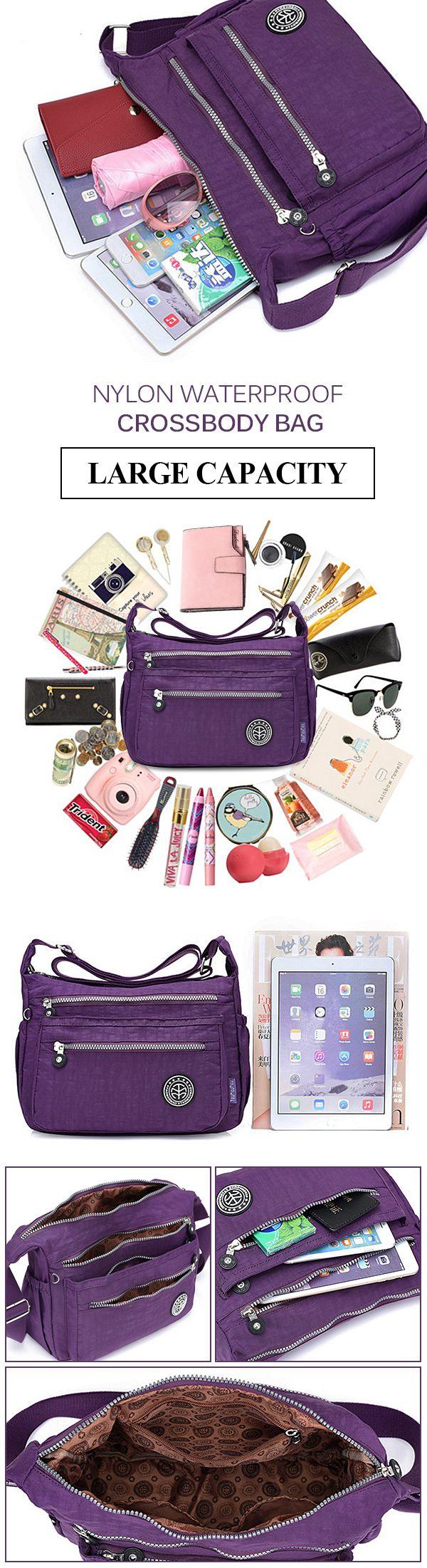 【$ 15.53】 Jinqiaoer Nylon Waterproof Lightweight Crossbody Bag Shoulder Bag Portable Travel Bag For Women