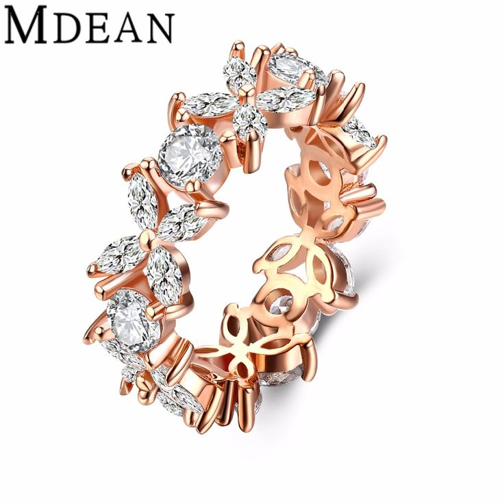 MDEAN Rose Gold Plated Rings for women bijoux ring fashion CZ diamond Jewelry vintage Ring Bague women Rings Accessories MSR804