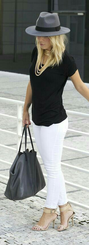 Love the black and white combo and statement necklace.  Need good white jeans.  Already have the shoes.
