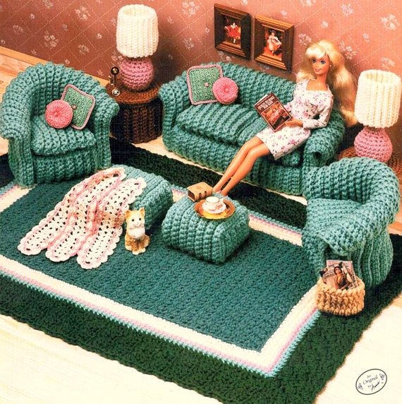 Vintage Crochet Pattern PDF Fashion Doll Home Decor House Furniture Living Room Chair Sofa Rug Lamp