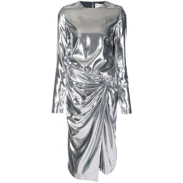 Saint Laurent Silver Gathered Waist Dress ($3,990) ❤ liked on Polyvore featuring dresses, silver, ruched waist dress, gathered waist dress, silver dress, yves saint laurent and metallic dresses