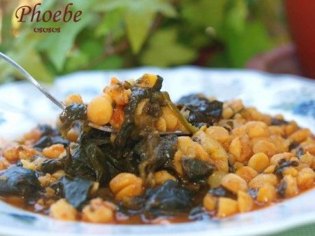 Chickpeas with spinach Ρεβύθια με σπανάκι