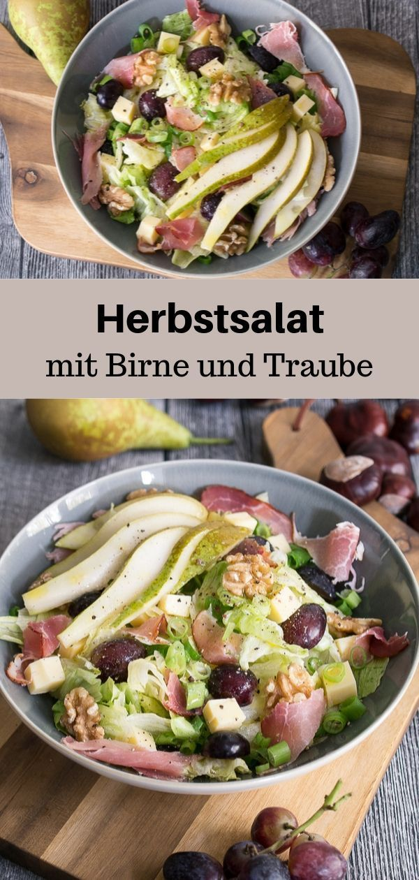 Herbstsalat mit Birne und Trauben Rezept