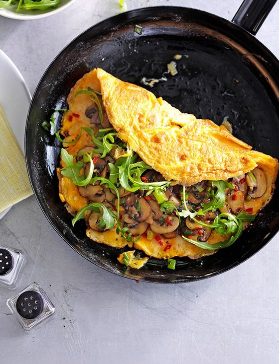 REBLOGGED - Chilli, cheese and garlic mushroom omelette