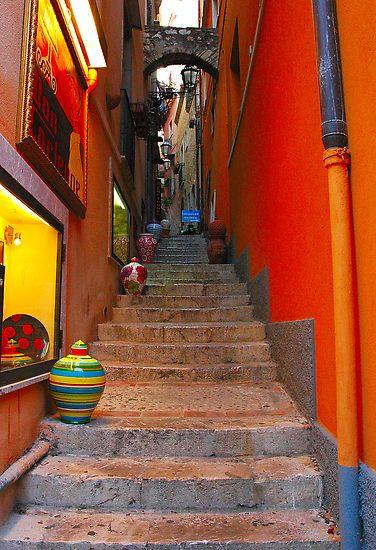 Passageway, Sicily, Italy: Stairs, Sicily Italy, Romances, Colors, Travel, Places, Taormina Sicily, Stairways, Sicilia Italia