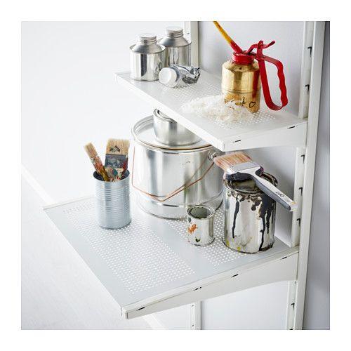 IKEA ALGOT Shelf Metal white 40x18 cm Just click in on ALGOT brackets – no tools needed.