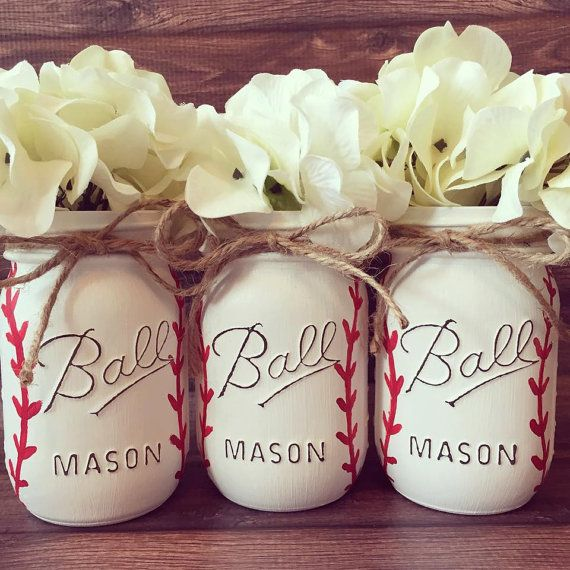 Set of 3 Pint size 16oz Painted. All White with by AJsLittleShop