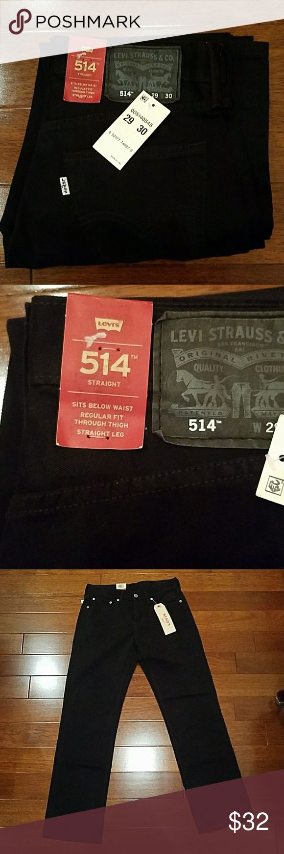 Men's Levi's Jeans 29x30 BRAND MEW WITH TAGS. Men's Levi's Jeans 29x30. 514 jeans, straight leg, but regular fot through thigh. Black color. Levi's Jeans Straight