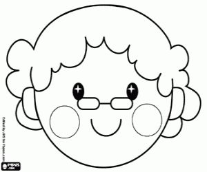 The face of Grandma's Little Red Riding Hood coloring page