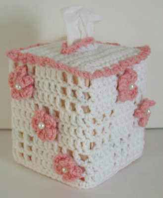 Best Free Crochet » Free Crochet Pattern Floral Boutique Tissue Box Cover #39 More