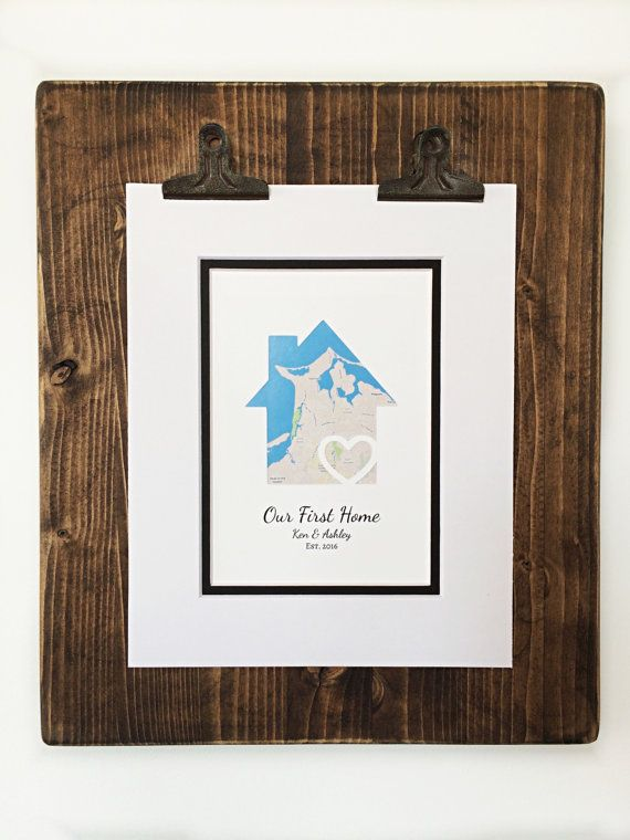 Our First Home Personalized Map Matted Gift New House Housewarming Closing Realtor
