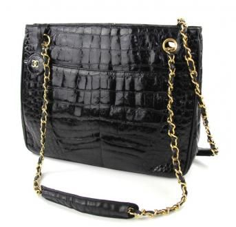 Chanel Crocodile Leather Chained Shoulder Bag In Black
